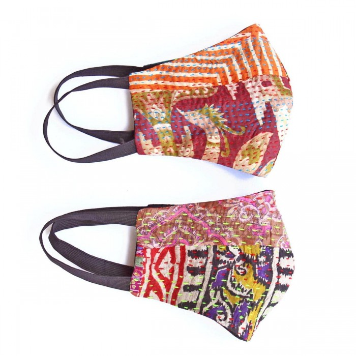 Simply Kitsch Silk Kantha Reusable Mask - Pack of 2